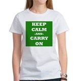 Keep Calm And Carry On (Green) T-Shirt