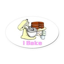 I bake.png Oval Car Magnet