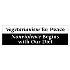 Vegetarianism for Peace Bumper Car Sticker