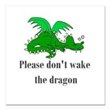 "sleepy dragon.png Square Car Magnet 3"" x 3"""