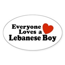 Everyone Loves a Lebanese Boy Oval Decal