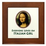 Mona Lisa Italian Girl Framed Tile