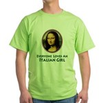 Mona Lisa Italian Girl Green T-Shirt