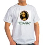 Mona Lisa Italian Girl Ash Grey T-Shirt
