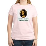 Mona Lisa Italian Girl Women's Pink T-Shirt
