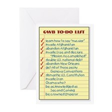 Bush's To-Do List Greeting Cards (Pk of 10)