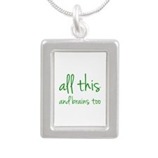 All This And Brains Too Silver Portrait Necklace