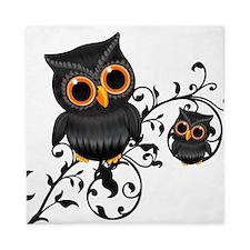 Black And Orange Cute Owl Queen Duvet