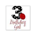 3 Ladybug Birthday Girl Sticker
