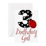 3 Ladybug Birthday Girl Greeting Cards (Pk of 20)