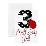 3 Ladybug Birthday Girl Greeting Card