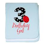 3 Ladybug Birthday Girl baby blanket