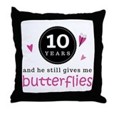 10th Anniversary Butterflies Throw Pillow