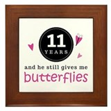 11th Anniversary Butterflies Framed Tile