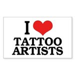 I Love Tattoo Artists Rectangle Sticker