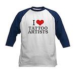 I Love Tattoo Artists Kids Baseball Jersey
