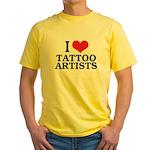 I Love Tattoo Artists Yellow T-Shirt