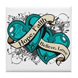 Interstitial Cystitis Hope Dual Heart Tile Coaster