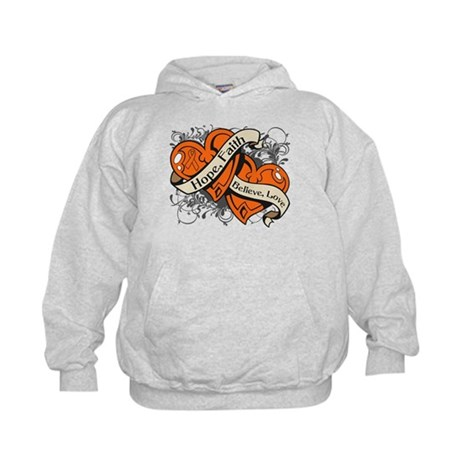 Kidney Cancer Hope Dual Heart Kids Hoodie