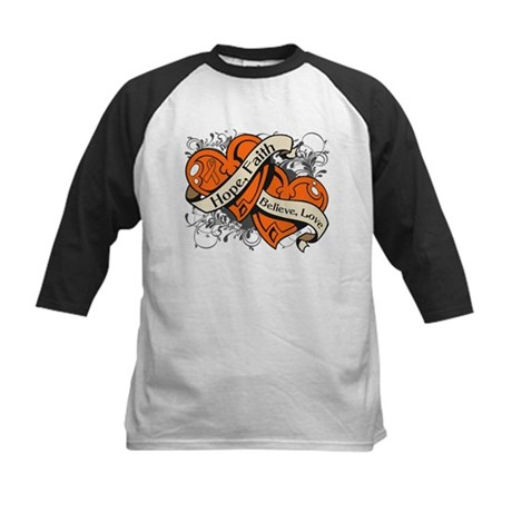 Kidney Cancer Hope Dual Heart Kids Baseball Jersey