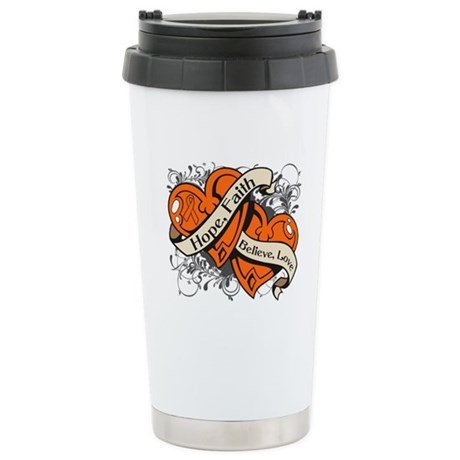 Kidney Cancer Hope Dual Heart Ceramic Travel Mug