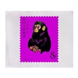 Vintage 1980 China Year of Monkey Stamp Pink Throw