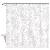 Elegant White Flourish Shower Curtain