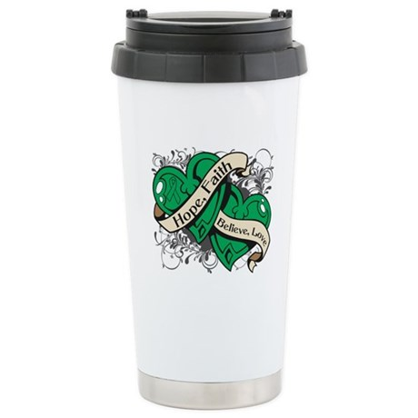 Liver Cancer Hope Dual Heart Ceramic Travel Mug