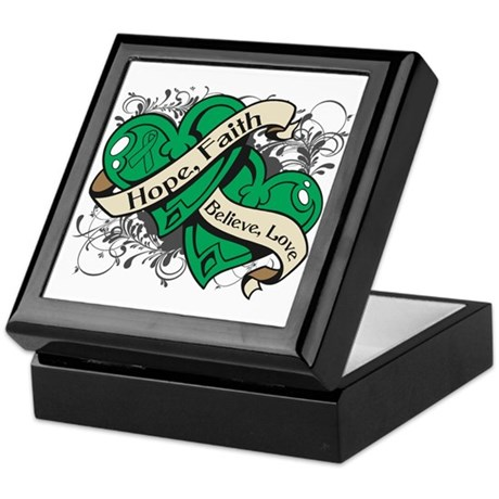 Liver Cancer Hope Dual Heart Keepsake Box