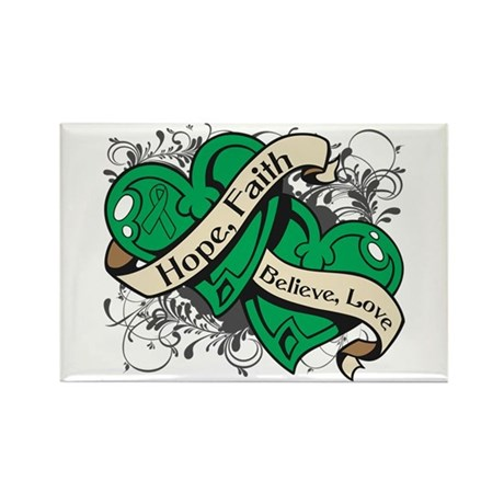 Liver Cancer Hope Dual Heart Rectangle Magnet