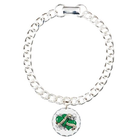 Liver Cancer Hope Dual Heart Charm Bracelet, One C