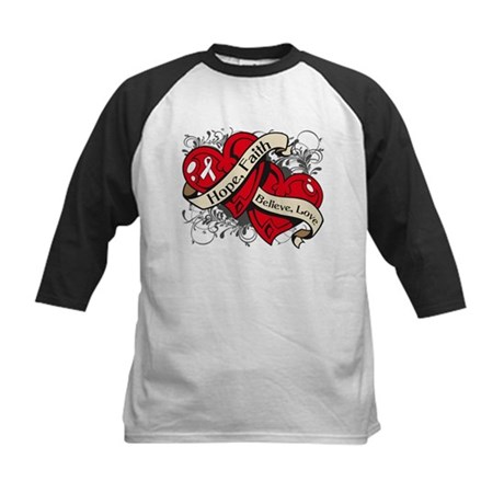 Lung Cancer Hope Dual Heart Kids Baseball Jersey