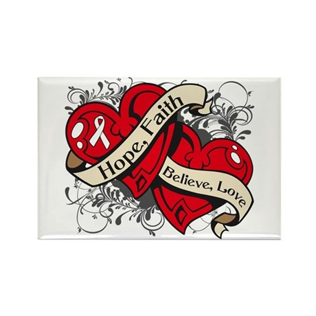 Lung Cancer Hope Dual Heart Rectangle Magnet