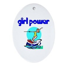 Girl Power Waterskiing Ceramic Ornament