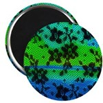 Magnet Black Lace w/Green & Blue background