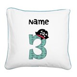 Pirate Third Birthday Square Canvas Pillow