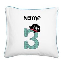 Pirate Third Birthday Square Canvas Pillow