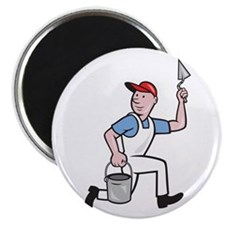 Plaster Masonry Worker Cartoon Magnet