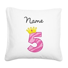 Personalized Princess 5 Square Canvas Pillow
