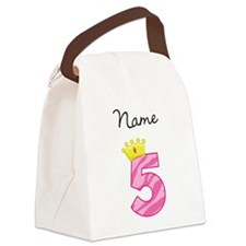 Personalized Princess 5 Canvas Lunch Bag