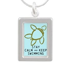 Turtle, Stay Calm Keep Silver Portrait Necklace