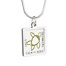 Turtle, Stay Calm Silver Square Necklace