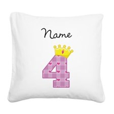 Personalized Princess 4 Square Canvas Pillow
