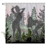 Nudes behind pine tree curtain Shower Curtain