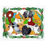 Christmas Pigeons Small Poster