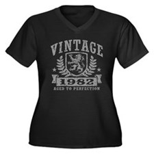 Vintage 1982 Women's Plus Size V-Neck Dark T-Shirt