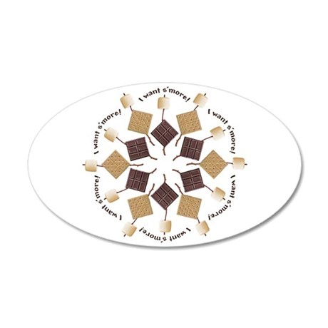 S'mores Snowflake! 35x21 Oval Wall Decal