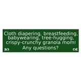 Cloth Diapering Breastfeeding Bumper Bumper Stickers