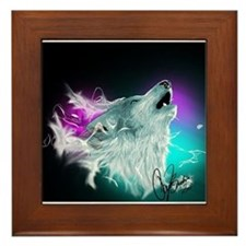 Northern Lights Wolf Spirit Framed Tile