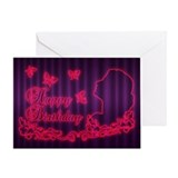 Birthday Greeting Card With Neon Effect